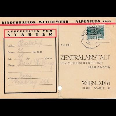 Kinderballon-Wettbewerb Österreich Alpenflug 1933 nach Wien - Fundkarte