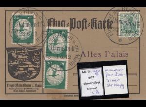 Flug-Post-Karte - MiNr. III - echt/einwandfrei, Flugpost Rhein/Main-SELTEN, sign
