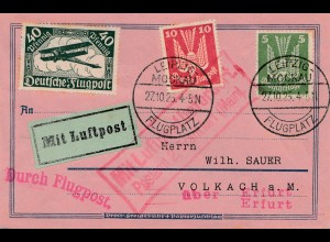 Brief Leipzig-Flugplatz 1925 per Luftpost/Flugpost nach Volkach über Erfurt