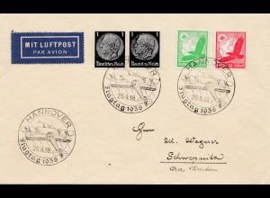 Lufptost Hannover nach Schwepnitz 1938 - Flugtag - Sonderstempel