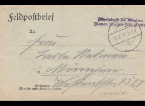 Feldpostbrief 1917: Feldpostadresse des Absenders: Bayrische Flieger Abt.