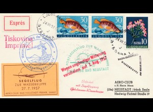 Brief Jugoslavien - Postsegelflug 1957- wegen Wetter verschoben nach Neustadt