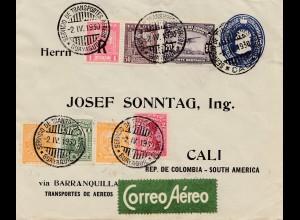 Brief Ecuador 1930 nach Cali-Colombia, Correo Aereo, Service Guayaquil