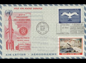 UN New York, Air letter Rocket Dispatch 1961 - Mexico