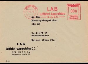 LAB Luftfahrt Apparatebau Berlin an Rüstungsinspektion 1943