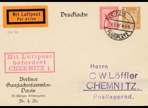 Luftpost Leipzig nach Chemnitz 1927