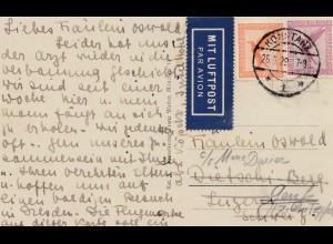 Ansichtskarte Konstanz 1929 - per Luftpost nach Genf