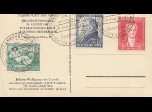 Ansichtskarte Goethe - Sonderstempel Frankfurt/M 1949, 200 Geburtstag Volkspende