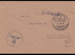Feldpost Radebeul 1944 - Karl May Museum nach Dresden Bahnpostamt