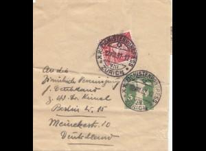Zionistenkongress in Zürich 1937 nach Berlin - Streifband