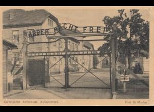 Ansichtskarte Ausschwitz-Birkenau - Eingangstor nach Prag