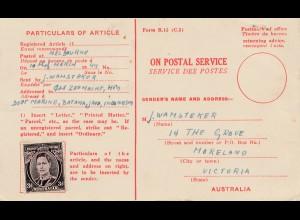 1949 Australien: nicht gebrauchter Rückschein- aber frankiert