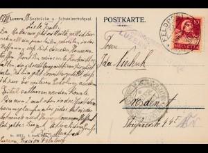 POW - Kgf: AK aus Luzern, nach Dresden Internierung 1918
