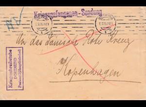 POW - Kgf: 1915 Kriegsschreibstube Dortmund nach Kopenhagen
