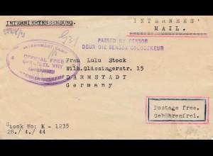 POW - Kgf: 1944 - Süd Afrika, Interniertenlager nach Darmstadt - Zensur