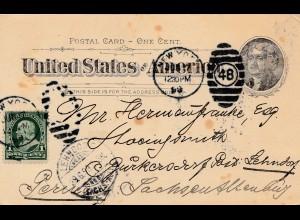 USA: Fire Island: Postal card 1899 nach Peru