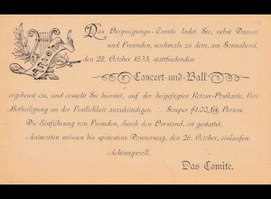 USA: Postal card, paid reply 1893, Vergnügungs Comite -Ball-Concert