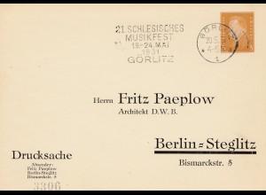 Schlesisches Musikfest Görlitz 1931 nach Berlin - Drucksache