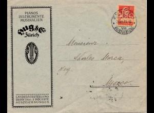 Zürich-Perfin 1924: Pianos-Instrumente Hug&Co nach Mesocco