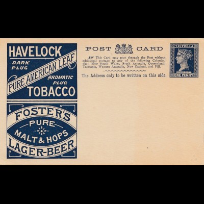 Victoria/Australia: Ganzsache Tobacco, Lager-Beer