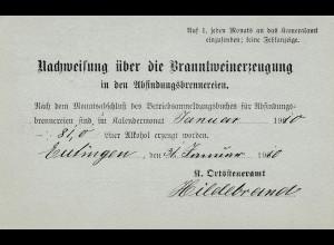 Eutingen nach Horb 1910: Nachweis über Branntweinerzeugung