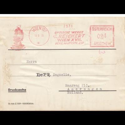 Drucksache Wien 1936 Optische Werke Reichert nach Holland