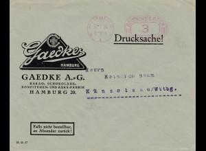 Gaedke Kakao-Schokolade Konfitüre/Keksfabrik 1924--Hamburg nach Künzelsau
