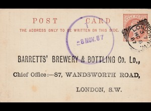 England: London 1886: Brewery&Bottling-Mineral Water, Ganzsache