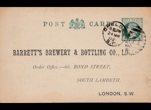 England: London 1902: Brewery&Bottling-Mineral Water, Ganzsache