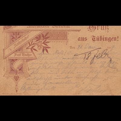 Ansichtskarte:Gruß aus Tübingen-Altdeutsches Bierlokal: Rathsstube Hischer 1889