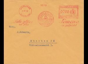 Jugoslavien: Ljubljana 1932 nach München: Freistempel