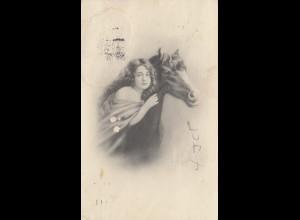 USA: Dallas Texas 1914: Corn Exposition - Ansichtskarte Frau mit Pferd - Mais