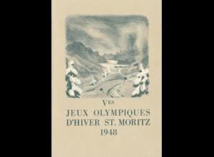 Schweiz: Olympische Winterspiele 1948 - Gedenkblatt vom Olymp. Comittee