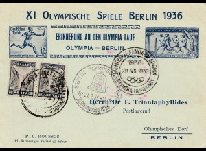 Olympia 1936: Berlin: Erinnerung an Olympia Lauf - Griechenland-Olyp. Dorf