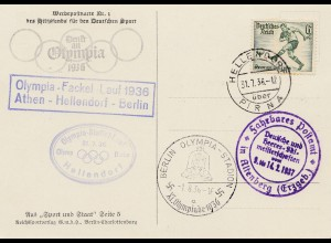 Propagandakarte: Olympia Fackellauf Athen-Helendorf-Berlin 1936