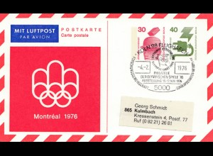 Olympische Spiele Montreal 1976: Philatelie Ausstellung -Köln-Flughafen