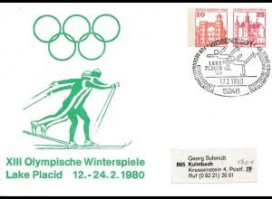 XIII. Olympische Winterspiele Lake Placid 1980 - Ganzsache - Eislauf-Wissen/Sieg