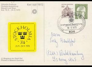 Olympische Spiele Kiel 1972: Ausstellung Mensch und Meer Ganzsache Stockholm