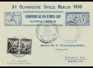 Olympiade Berlin 1936: Fackel-Staffel-Lauf - mit Griechenland Marken/Stempel