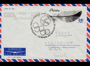 Polen 1972: Olympia First Flight: Warszawa-Munich