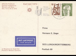 1972 Olympiade München: Mensch und Meer - Ganzsache Kiel
