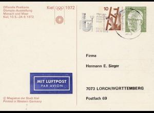 Olympiade München 1972: Mensch und Meer - Ganzsache Kiel
