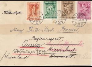 Ungarn: Brief von Kassa nach Aussig/Marienbad-Sudetenland 1920