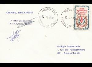 Frankreich 1968: Terres Australes et Antarctiques FDC Archipel des Crozet