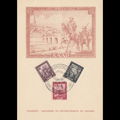 Saar: 1951: Tag der Briefmarke - Gedenkblatt