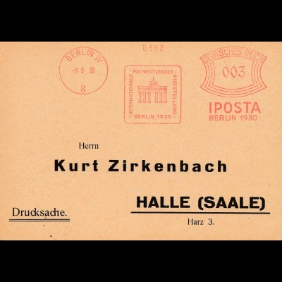 Iposta Berlin 1930. Freistempel Brandenburger Tor
