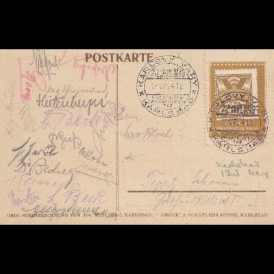 Gedenkkarte Deutscher Philatelistentag 1924 - Karsbad