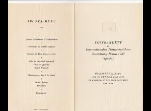 Festbankett Iposta Berlin 1930 - Speisenfolge - Programm