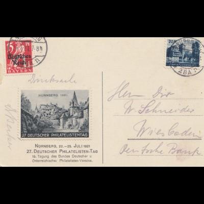 Deutscher Philatelistentag 1921 in Nürnberg-Vignette-Ansichtskarte