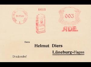 Freistempel Berlin 1929 mit Werbung Katalog der Selbstempel